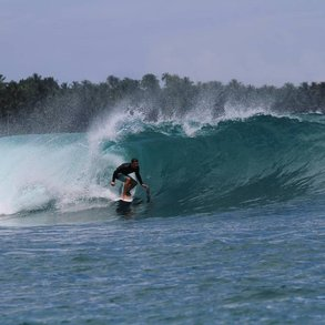 Alex nutzte die Freizeit im Auslandssemester an der SCU zum Surfen.